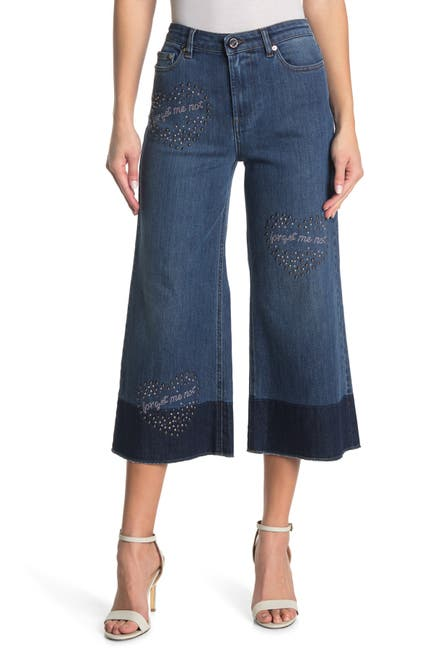 Image of RED Valentino Cropped Studded Flare Leg Jeans