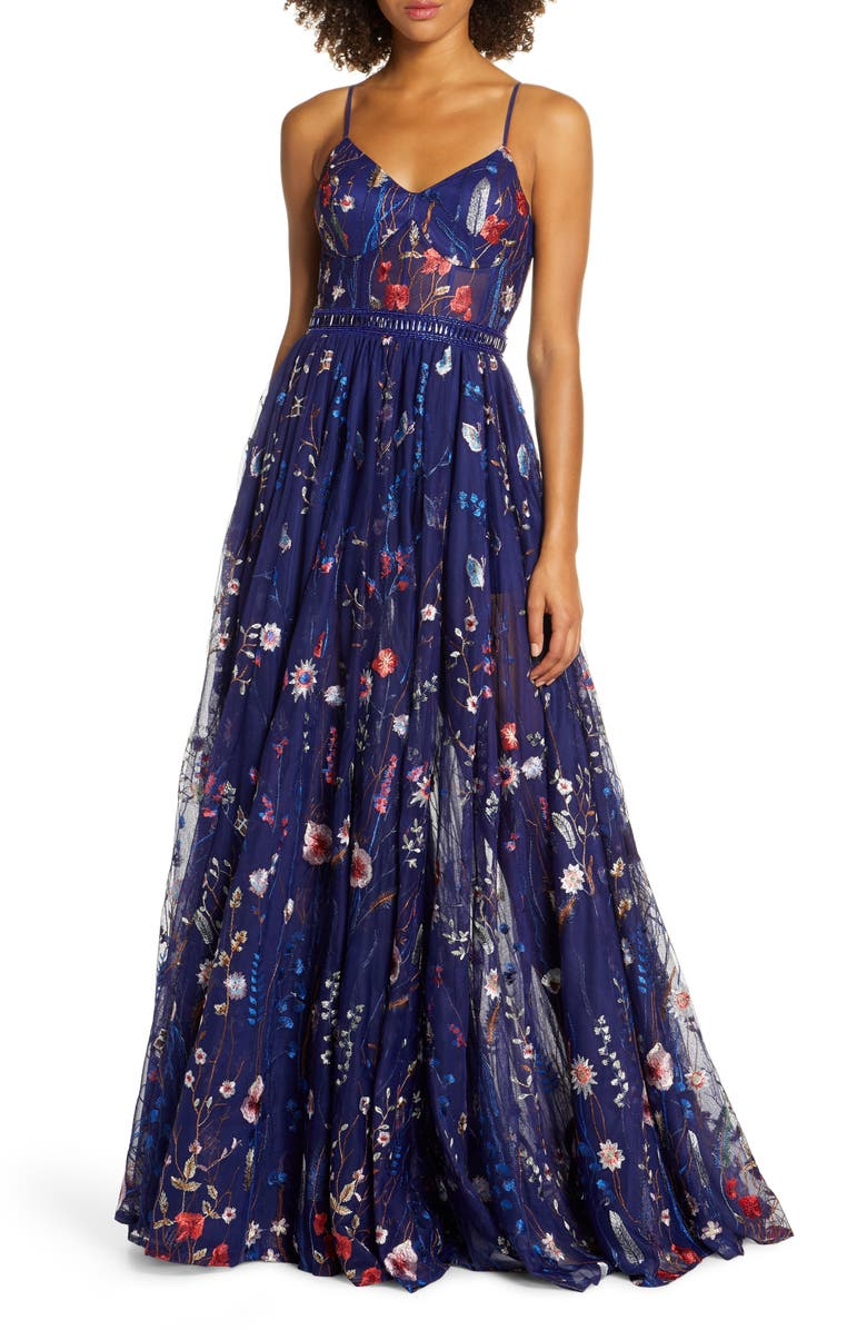 MAC DUGGAL Embroidered Bustier Gown, Main, color, INDIGO