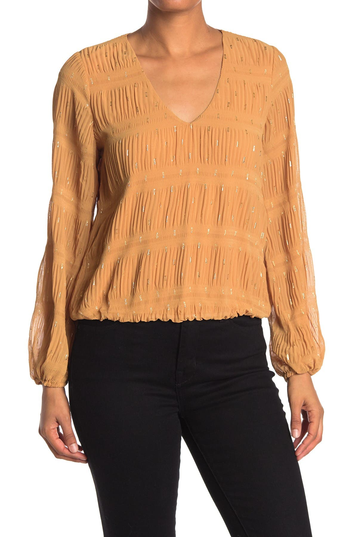 Image of ASTR the Label Long Sleeve V-Neck Top