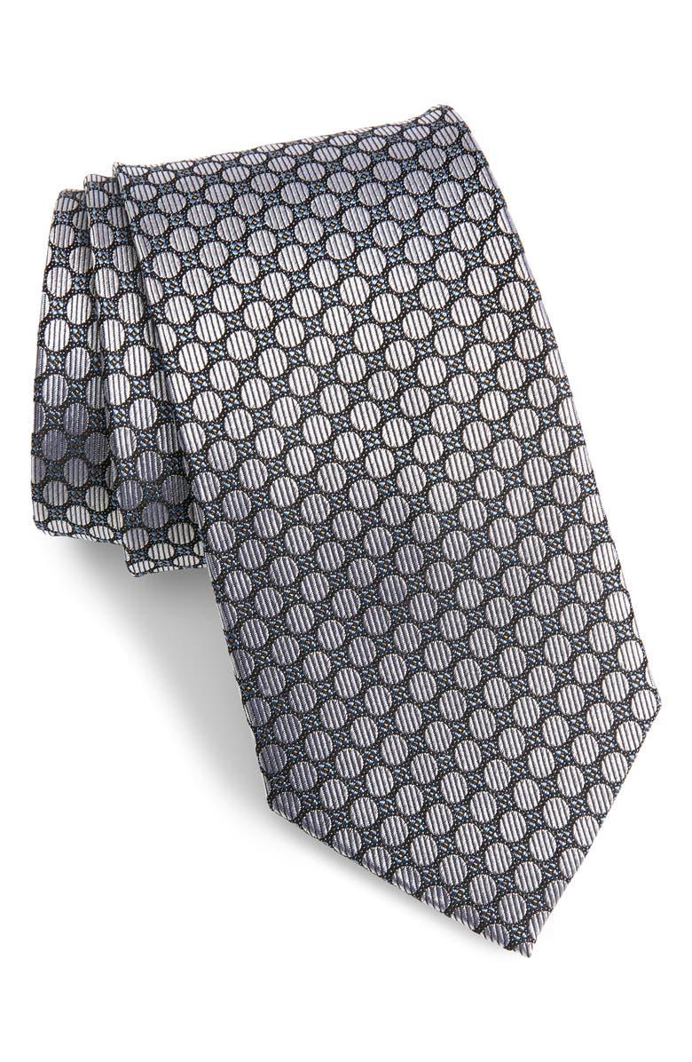 NORDSTROM MEN'S SHOP Neat Silk Tie, Main, color, SILVER