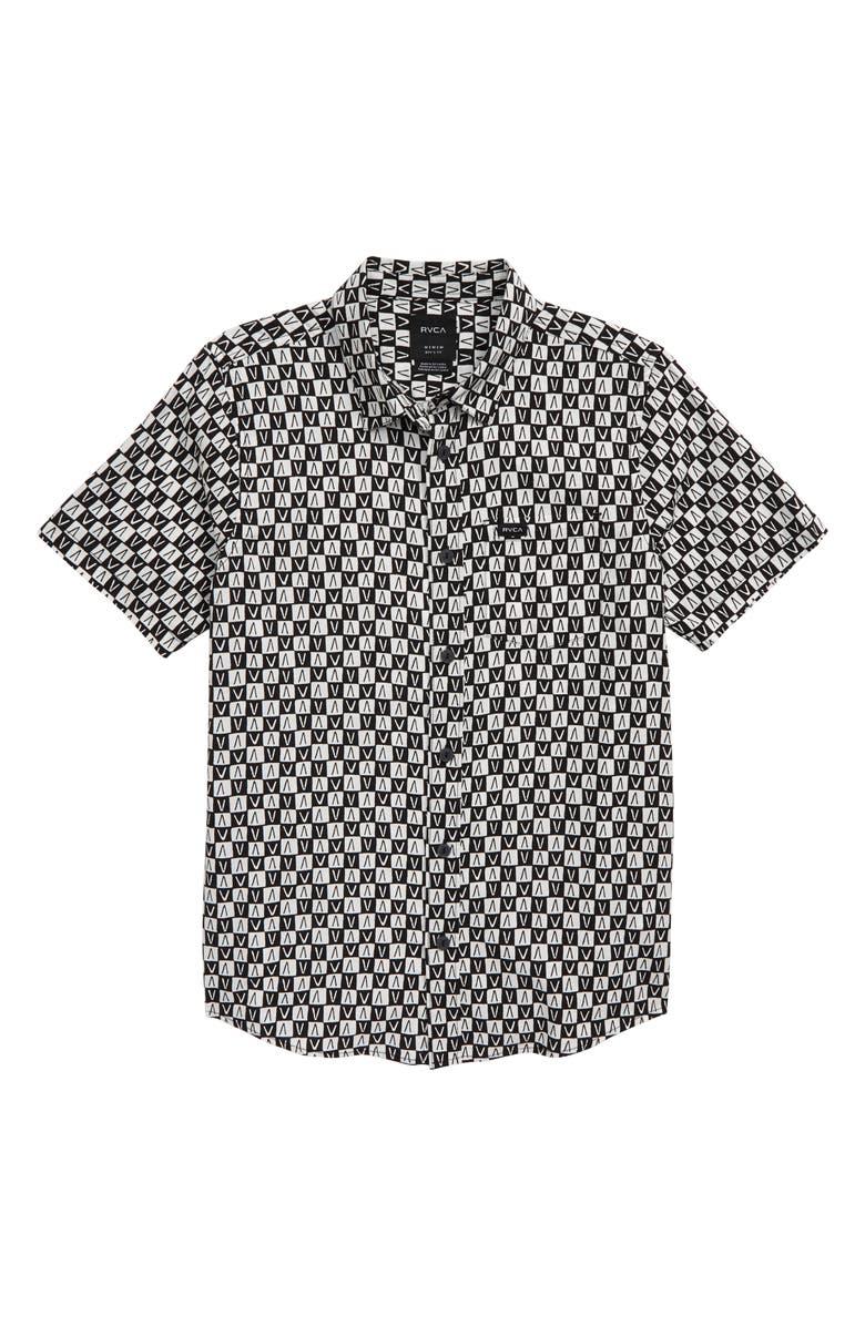 RVCA Greyscale Woven Shirt, Main, color, BLACK/ WHITE