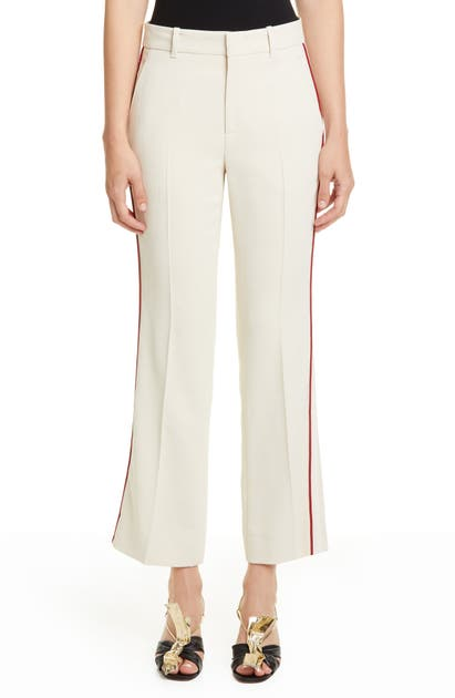 Gucci Piped Stretch Cady Crop Bootcut Pants In Gardenia/ Mix