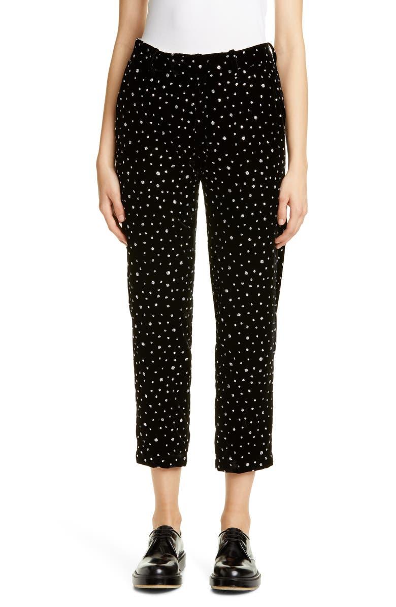 ROSEANNA Janet Polka Dot Velvet Crop Pants, Main, color, NOIR