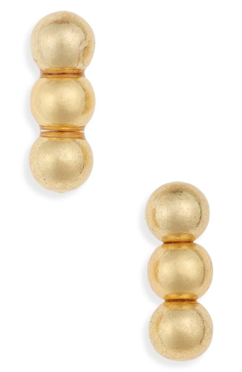 MADEWELL Triple Ball Stud Earrings, Main, color, VINTAGE GOLD