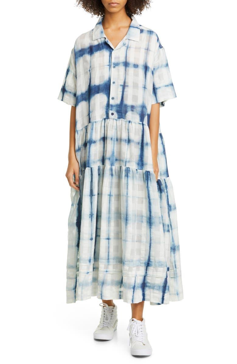 STORY MFG. Eden Tie Dye Organic Cotton Maxi Shirtdress, Main, color, 400
