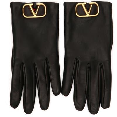 Valentino Garavani Go Logo Leather Gloves, Black