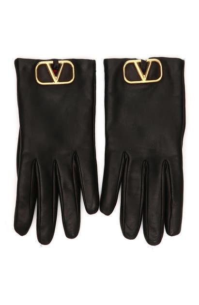 Valentino Vlogo Leather Gloves W/ Cashmere Lining In Nero