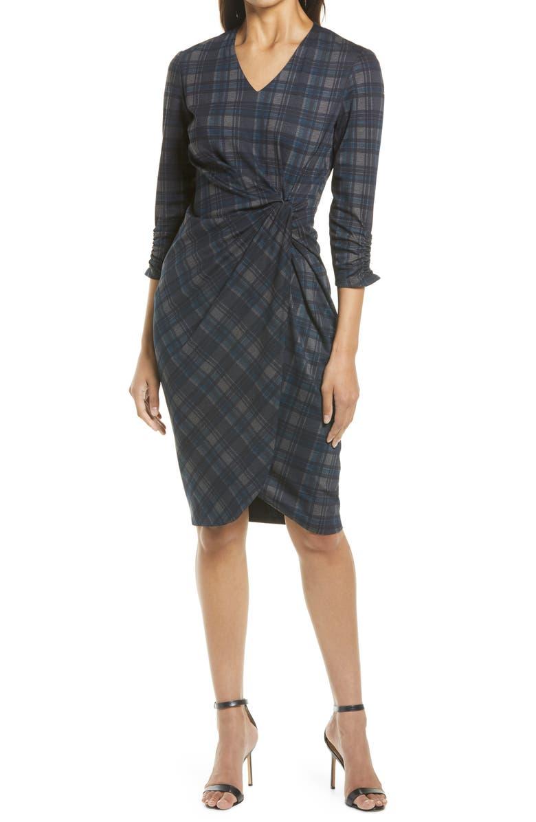 TAHARI Plaid V-Neck Sheath Dress, Main, color, 020