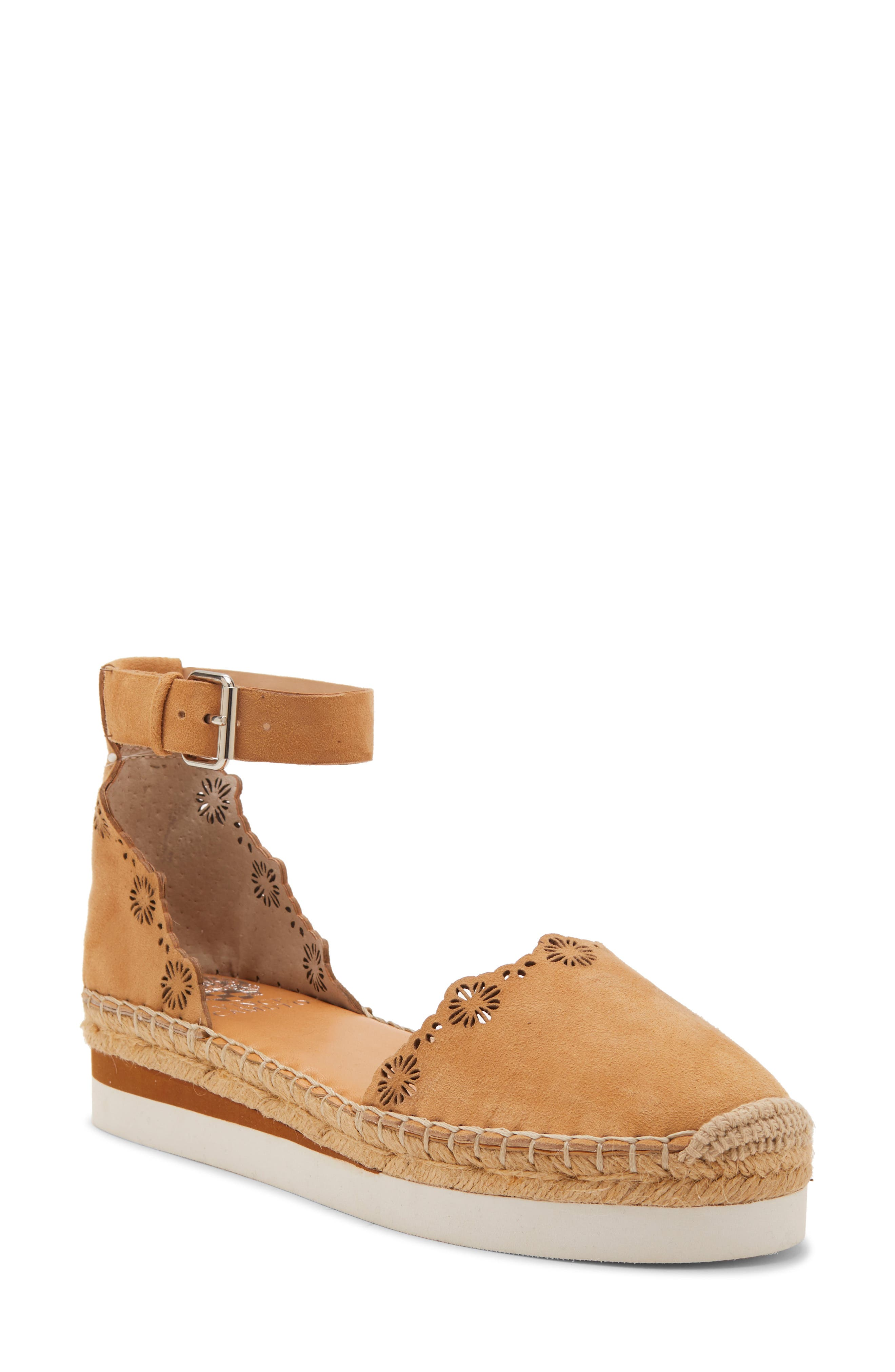 Vince Camuto Breshan Ankle Strap Espadrille Wedge, Brown