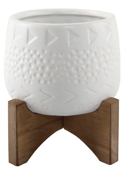 "Image of FLORA BUNDA 3.5"" Caveman Ceramic on Stand - Matte White"