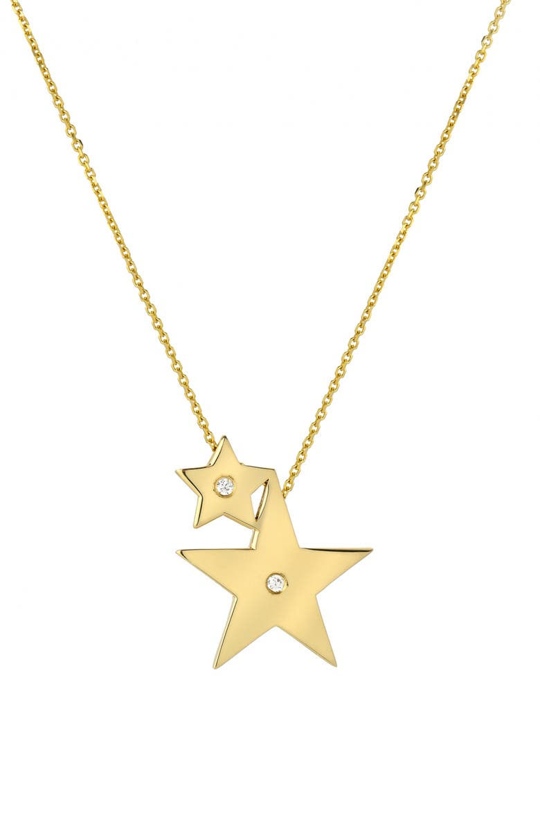 MINI MINI JEWELS Forever Collection - Double Star Diamond Pendant Necklace, Main, color, YELLOW GOLD