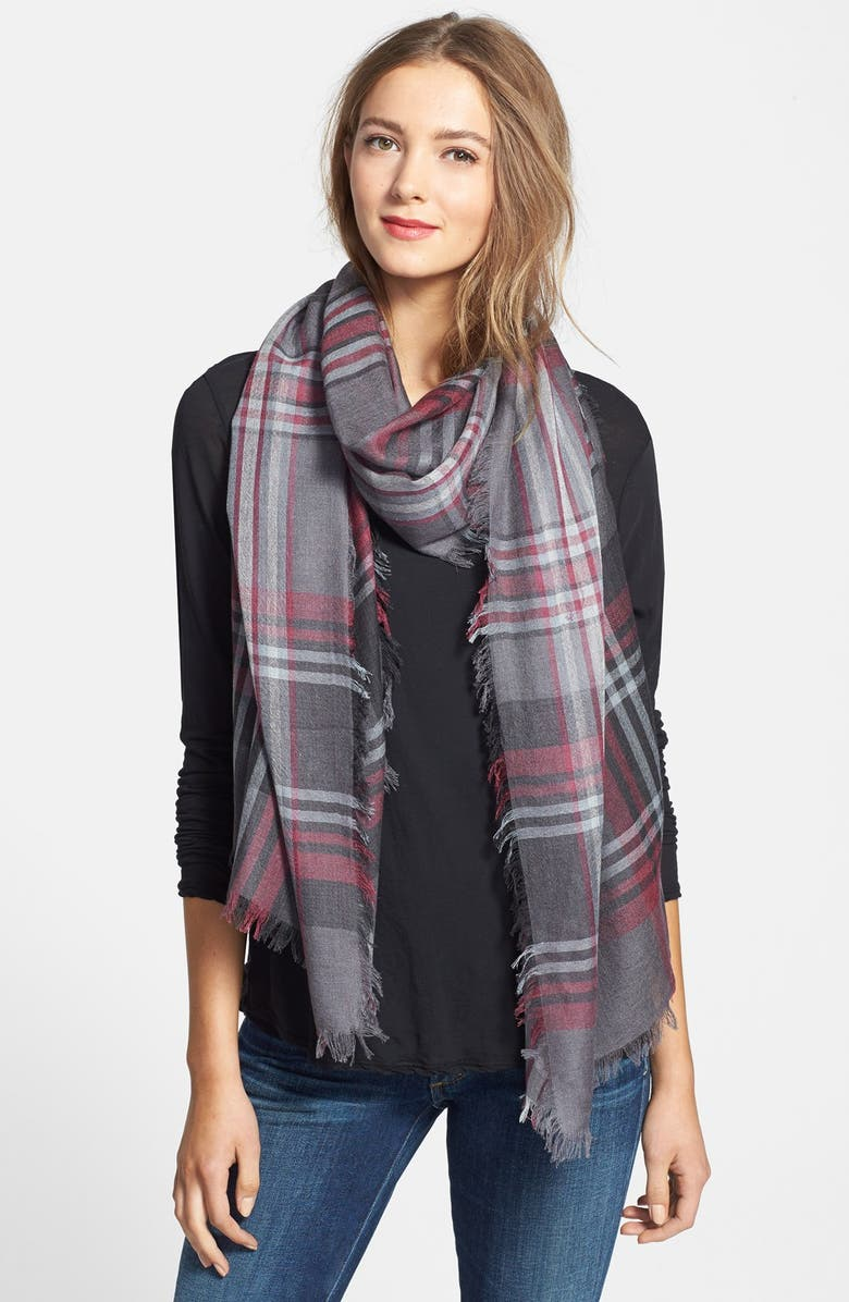 NORDSTROM 'Heritage Plaid' Cashmere & Silk Scarf, Main, color, 020