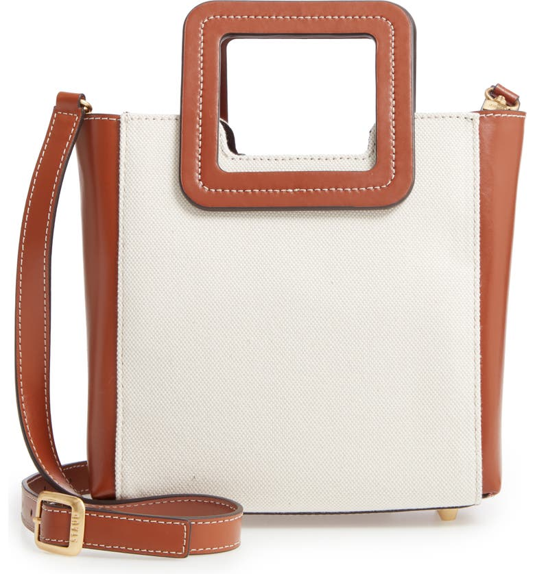 STAUD Mini Shirley Leather & Canvas Satchel, Main, color, NATURAL/ BROWN