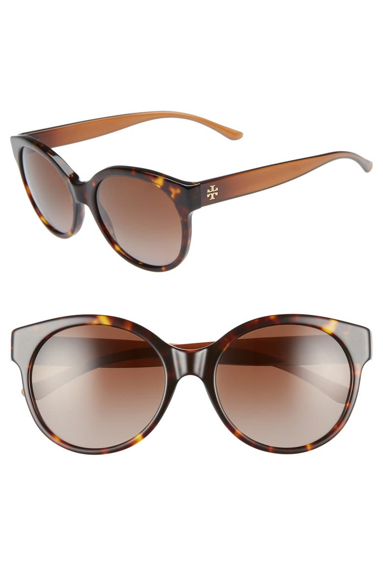TORY BURCH Stacked T 55mm Polarized Round Sunglasses, Main, color, DARK TORTOISE GRADIENT