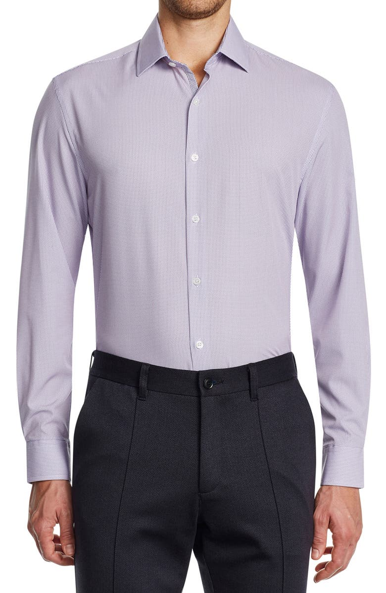 W.R.K Slim Fit Print Stretch Performance Dress Shirt, Main, color, LIGHT PINK