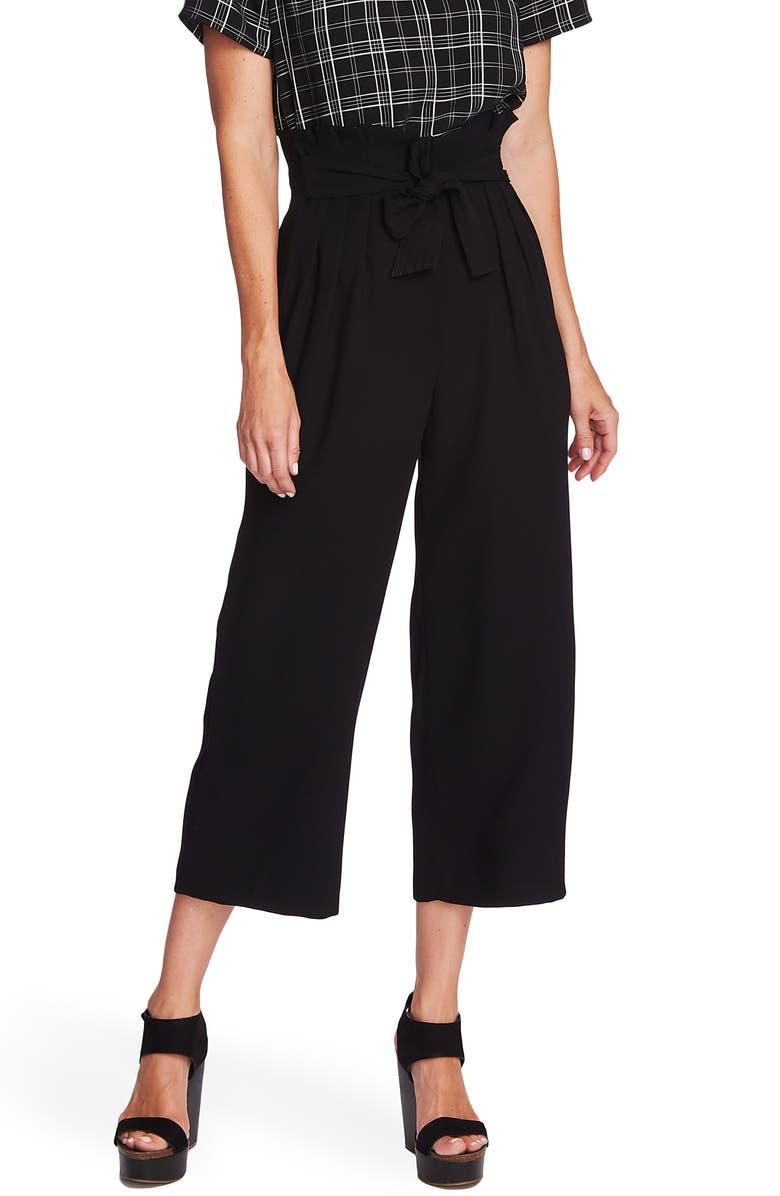 VINCE CAMUTO Paperbag Waist Wide Leg Matte Crepe Trousers, Main, color, 006