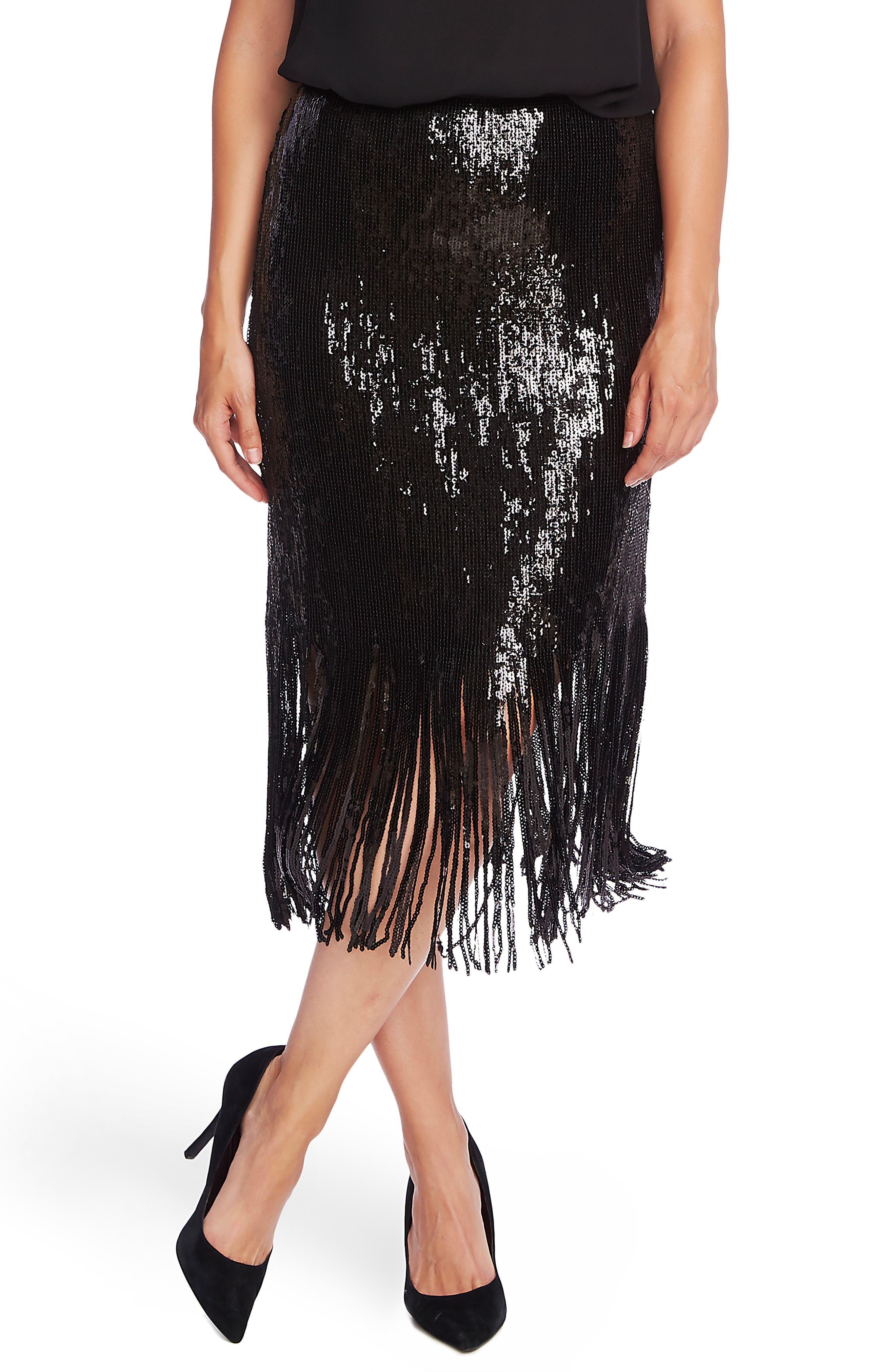 60s Skirts | 70s Hippie Skirts, Jumper Dresses Womens Vince Camuto Sequin Fringe Skirt $129.00 AT vintagedancer.com