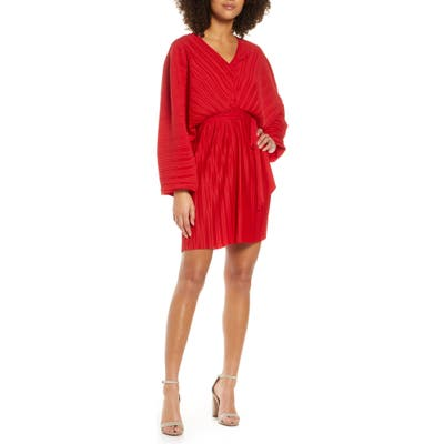 French Connection Long Sleeve Crinkle Pleat Cocktail Dress, Red