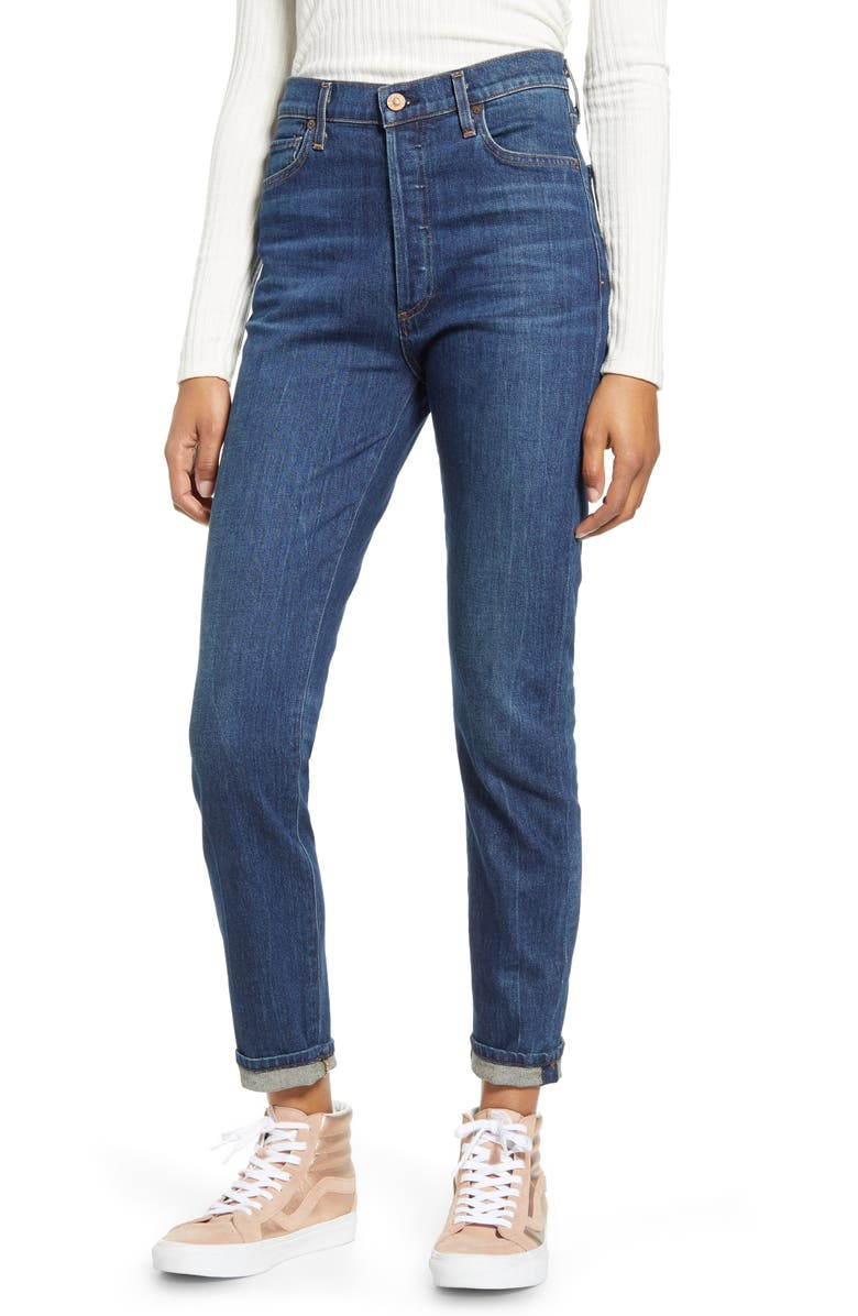 CITIZENS OF HUMANITY Olivia High Waist Ankle Slim Jeans, Main, color, MERCY