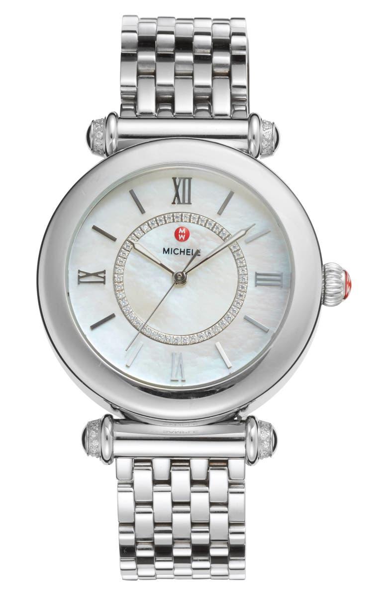 MICHELE Caber Diamond Bracelet Watch, 35mm, Main, color, 041