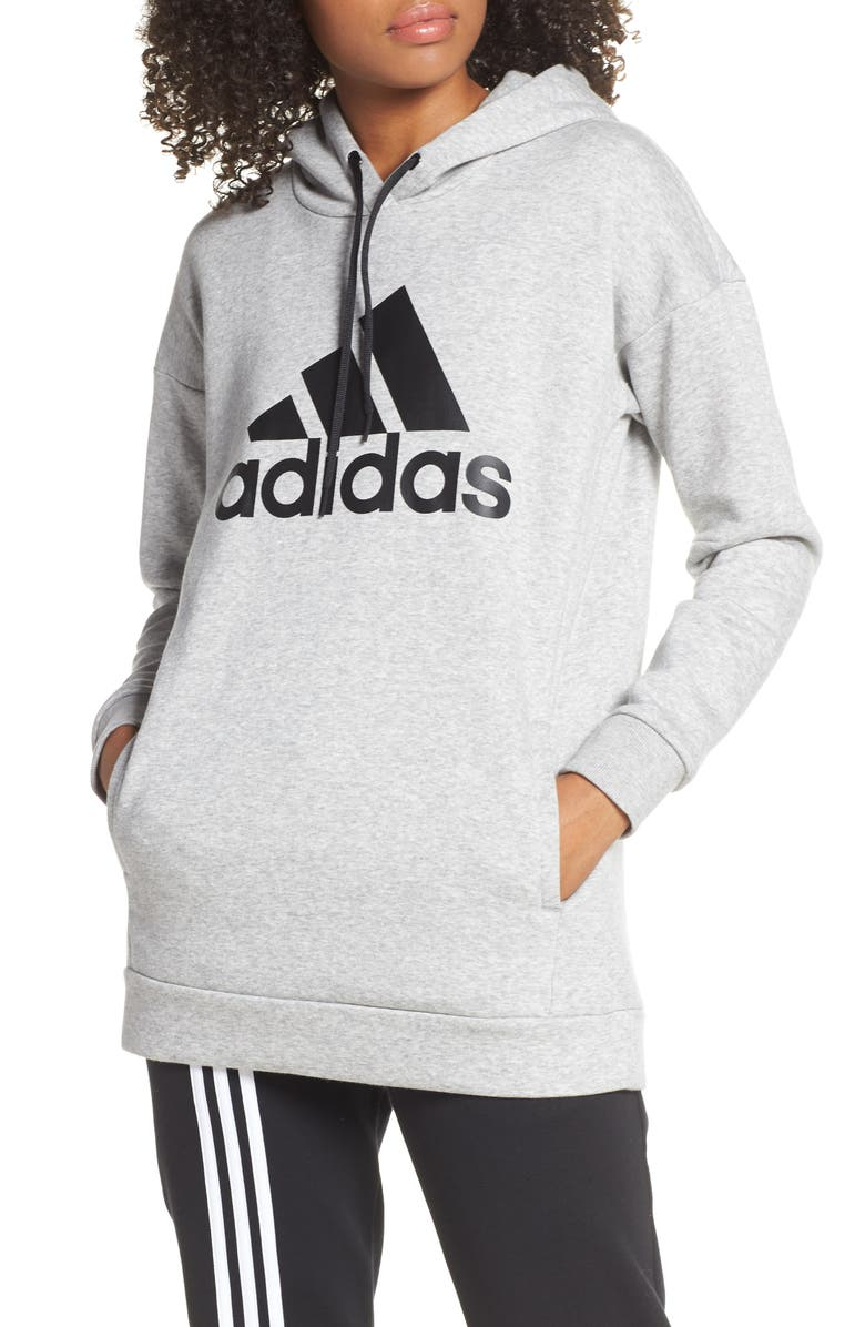ADIDAS Logo Hoodie, Main, color, MEDIUM GREY HEATHER
