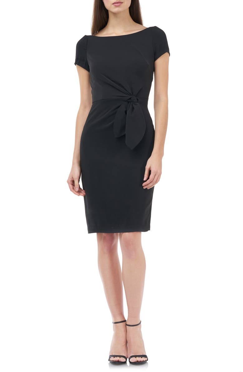 JS COLLECTIONS Knotted Waist Crepe Cocktail Dress, Main, color, BLACK