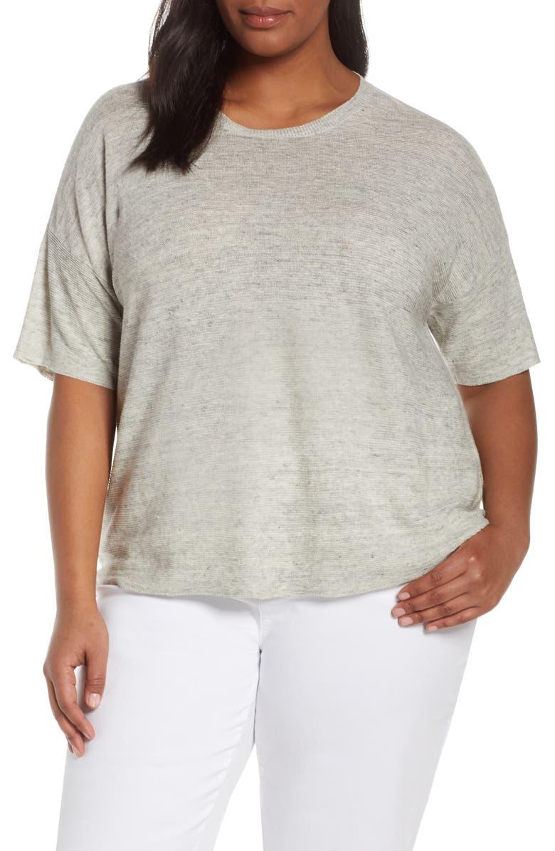 EILEEN FISHER Organic Linen Short Sleeve Sweater, Main, color, 900