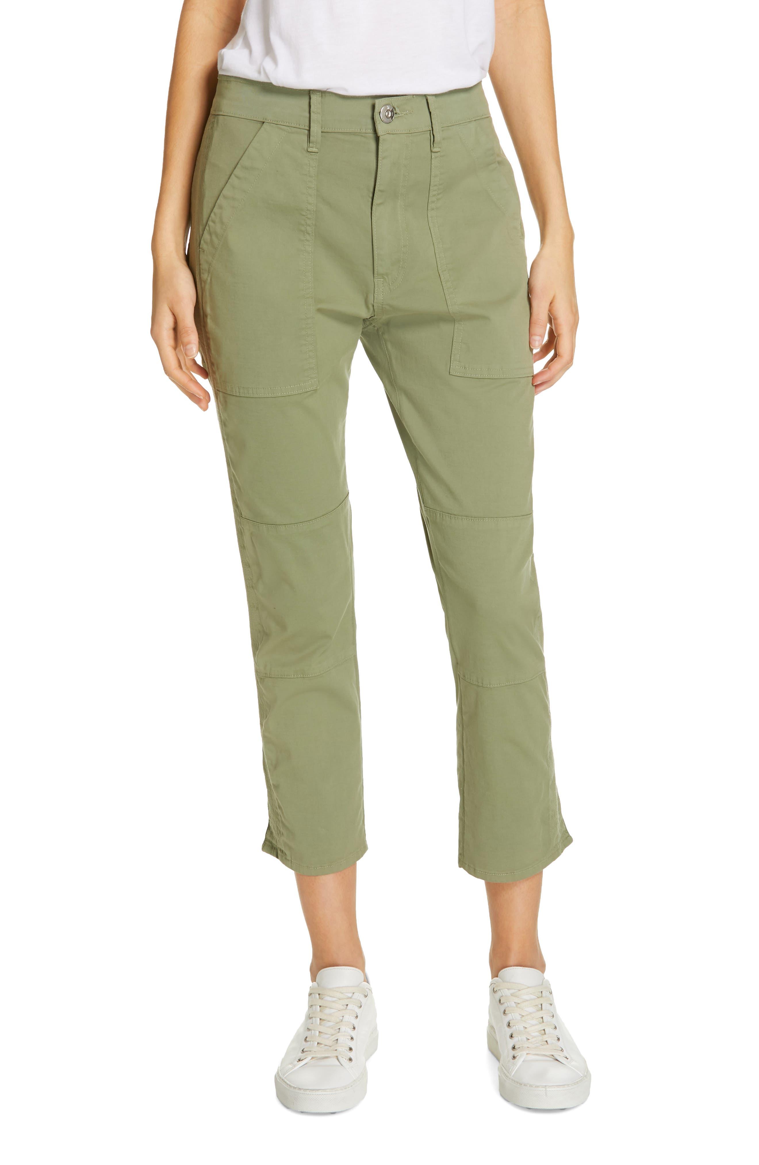 Simone Twill Crop Straight Leg Trousers, Main, color, LIGHT MOSS
