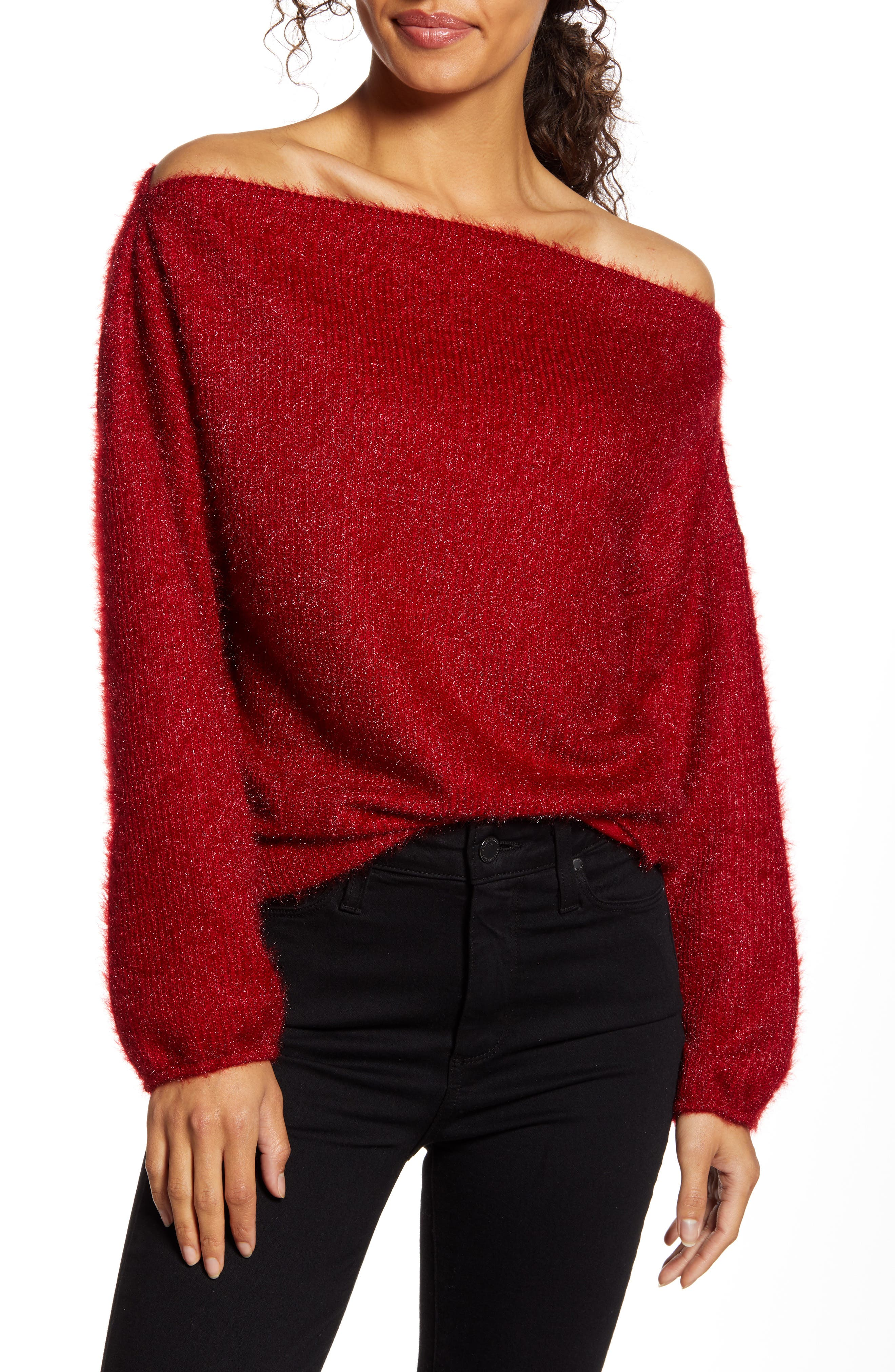Gibson x Glam Blushing Rose Anna Off the Shoulder Soft Holiday Sweater (Nordstrom Exclusive)
