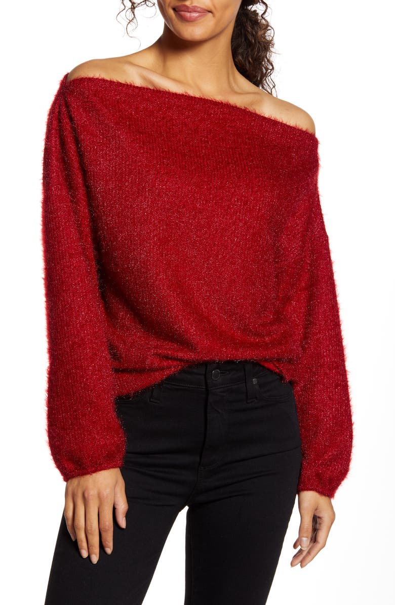 GIBSON x Glam Blushing Rose Anna Off the Shoulder Soft Holiday Sweater, Main, color, RED