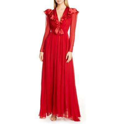 Giambattista Valli Ruffle Long Sleeve Silk Chiffon Gown, 8 IT - Red