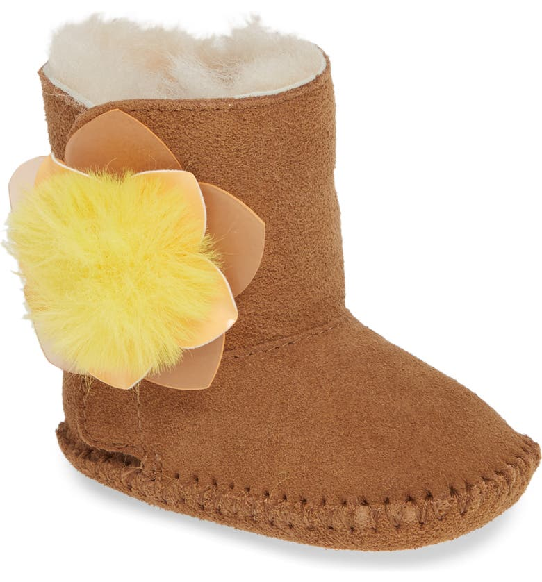 UGG<SUP>®</SUP> Cassie Cactus Flower Genuine Shearling Boot, Main, color, CHESTNUT