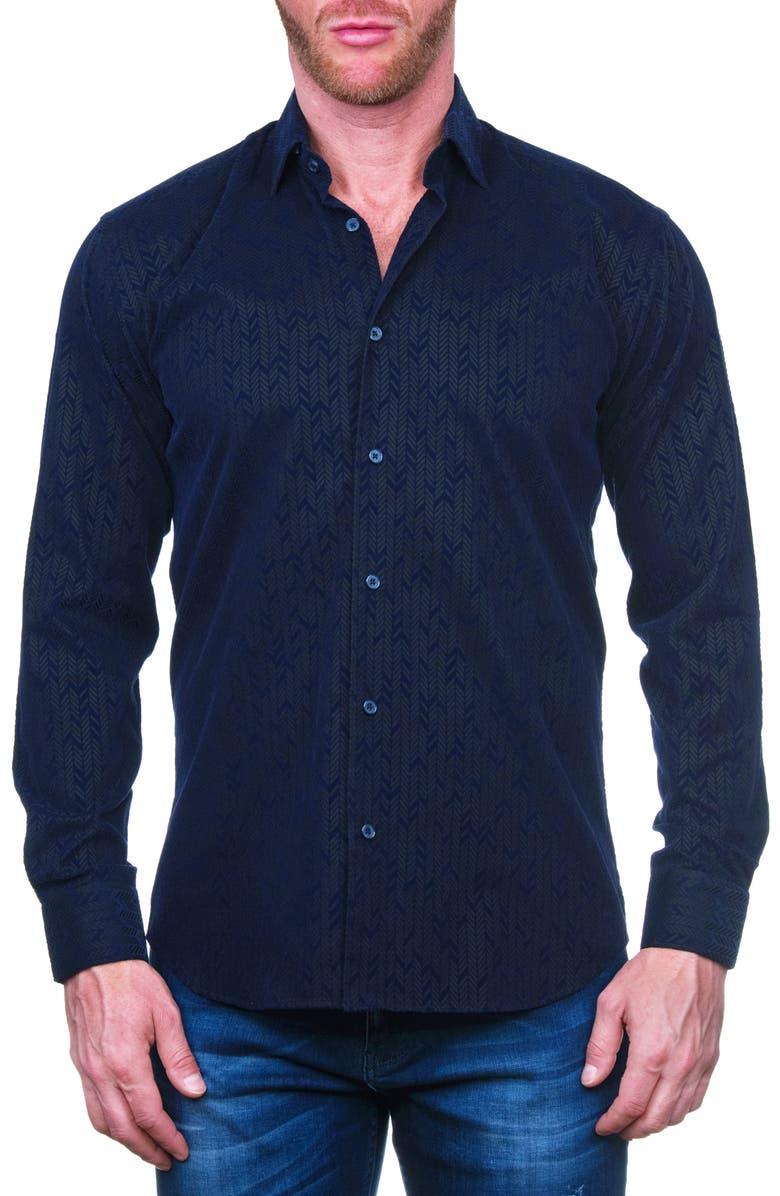 MACEOO Fibonacci Flokarrow Black Regular Fit Button-Up Shirt, Main, color, BLUE