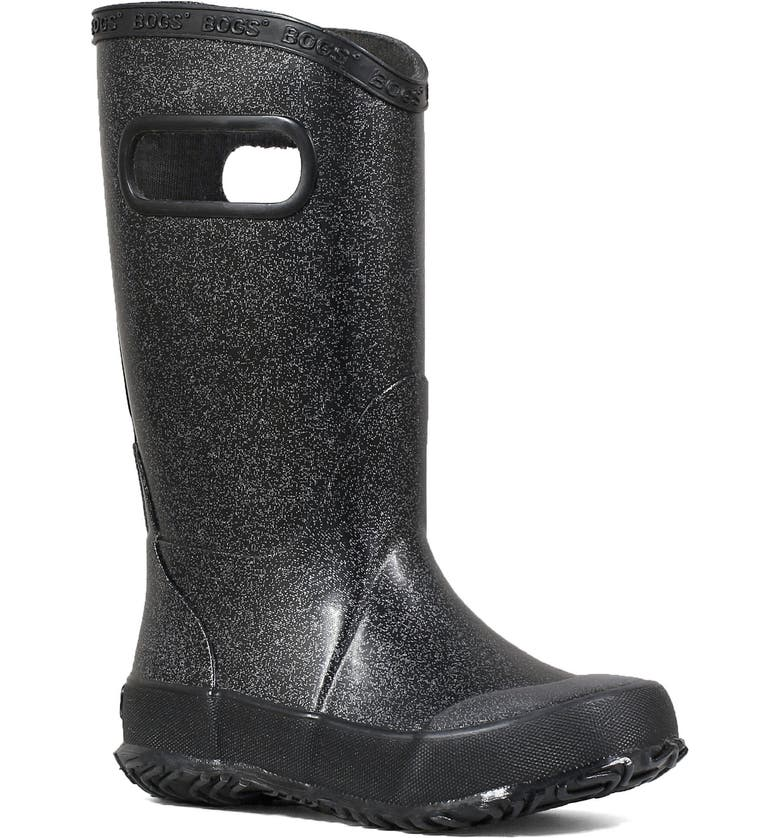 BOGS Glitter Waterproof Rain Boot, Main, color, BLACK