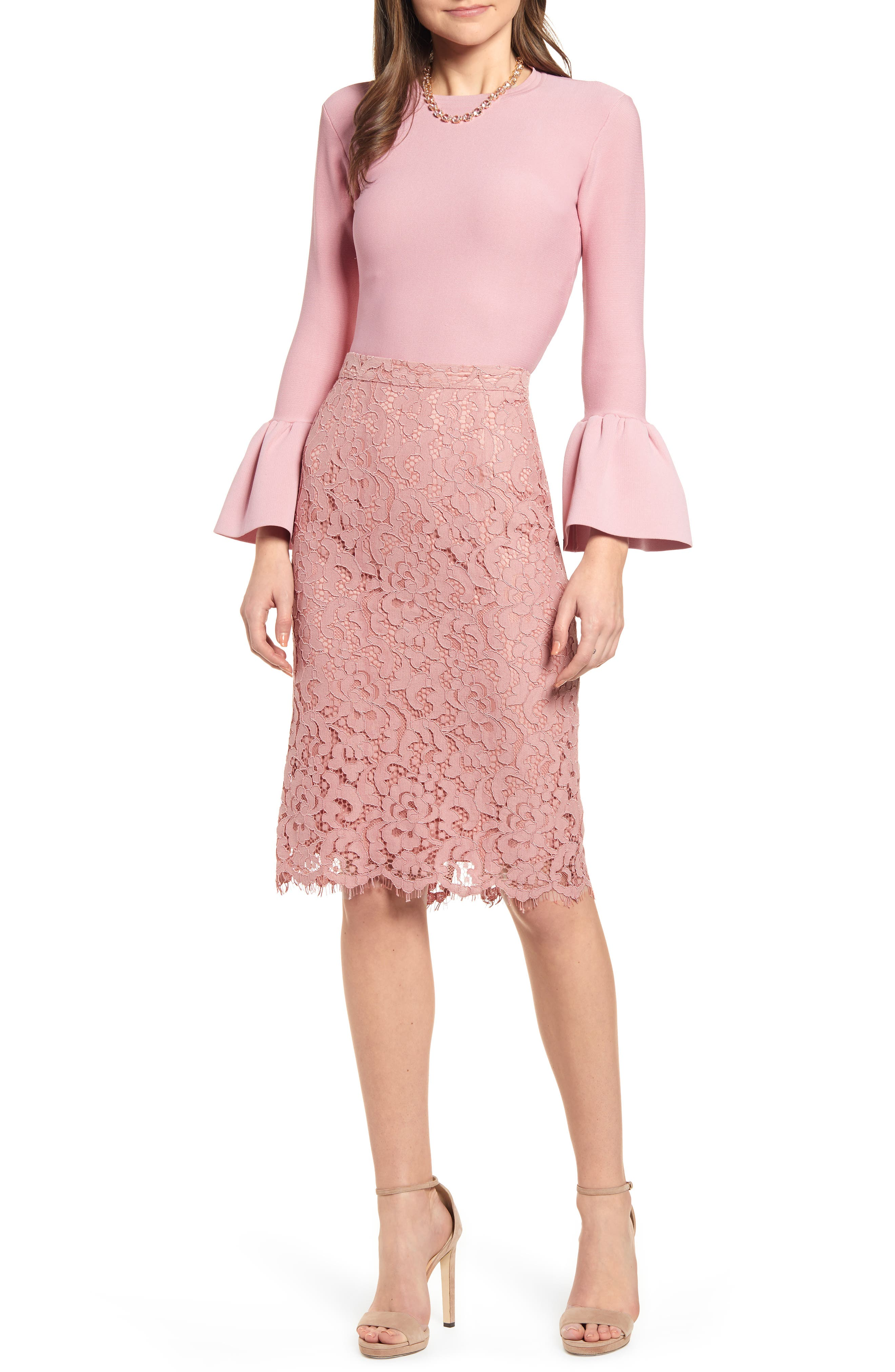 ,                             Lace Pencil Skirt,                             Main thumbnail 1, color,                             PINK BEAUTY