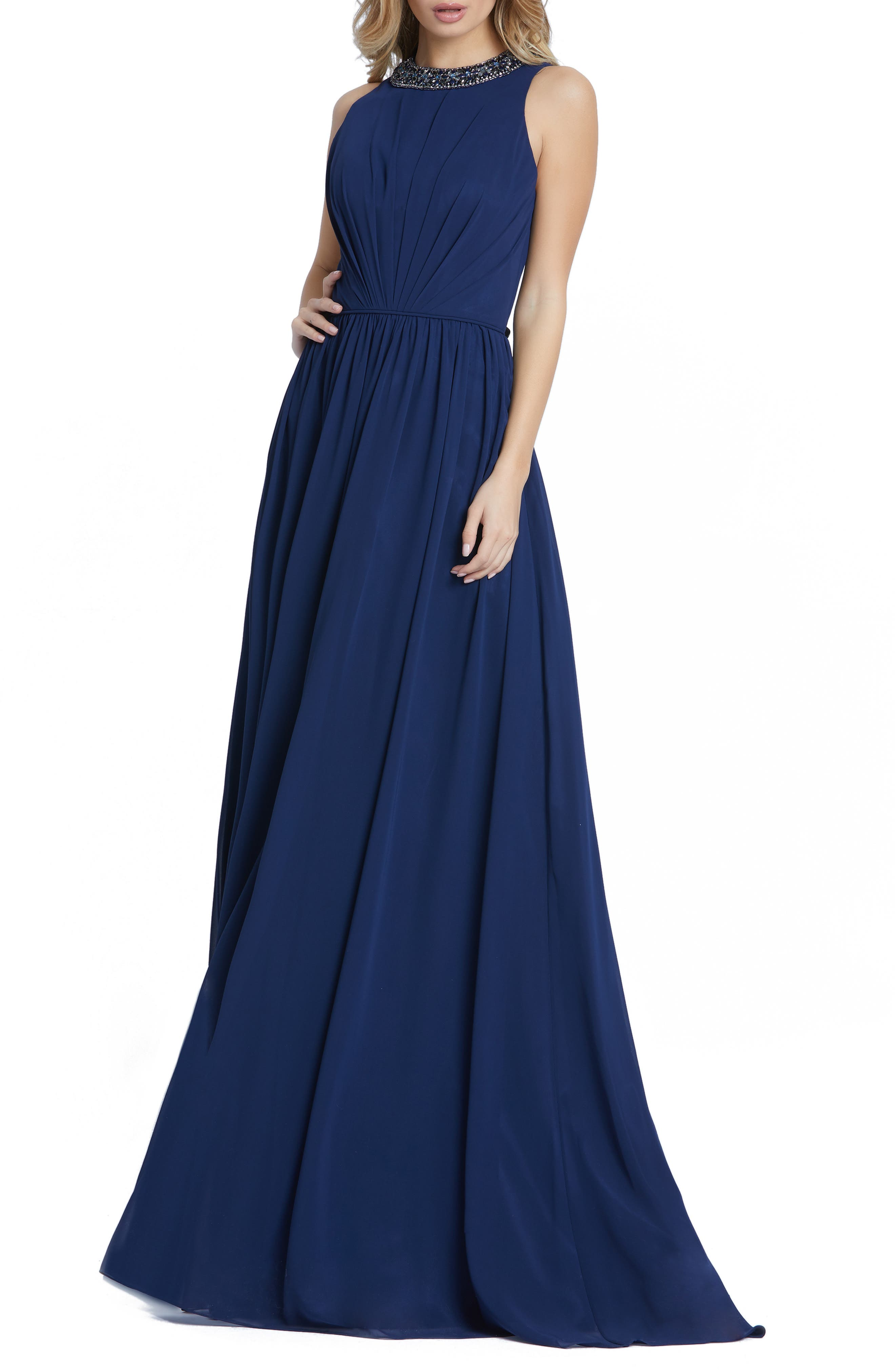 Women's Leena For MAC Duggal Embellished High Neck Pleated Gown
