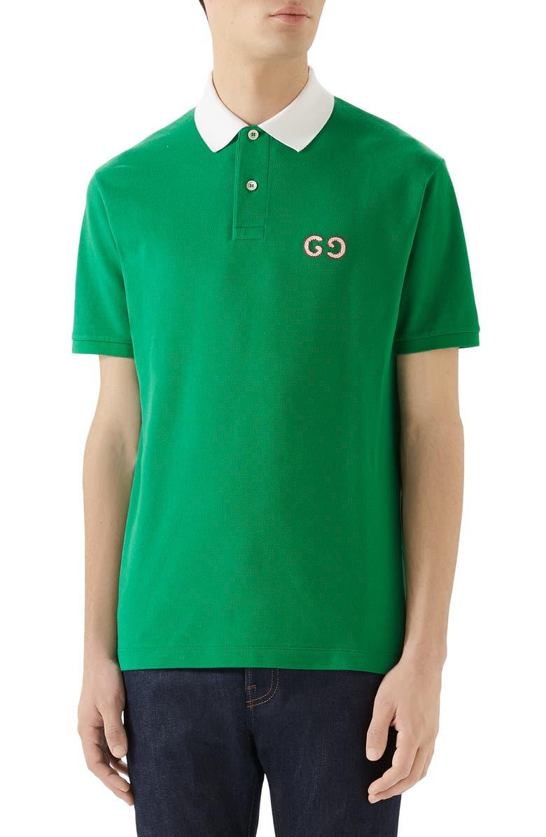 GUCCI GG Embroidered Piqué Polo, Main, color, YARD/ MILK