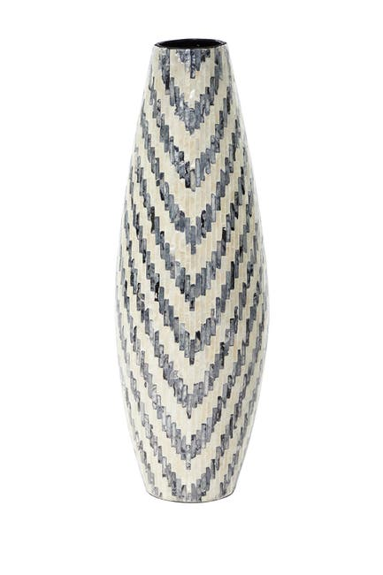 "Image of Willow Row Wooden Vase With Capiz Shells - 11""W X 33""H"