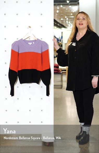 Sammy Balloon Sleeve Wool & Cashmere Blend Sweater, sales video thumbnail