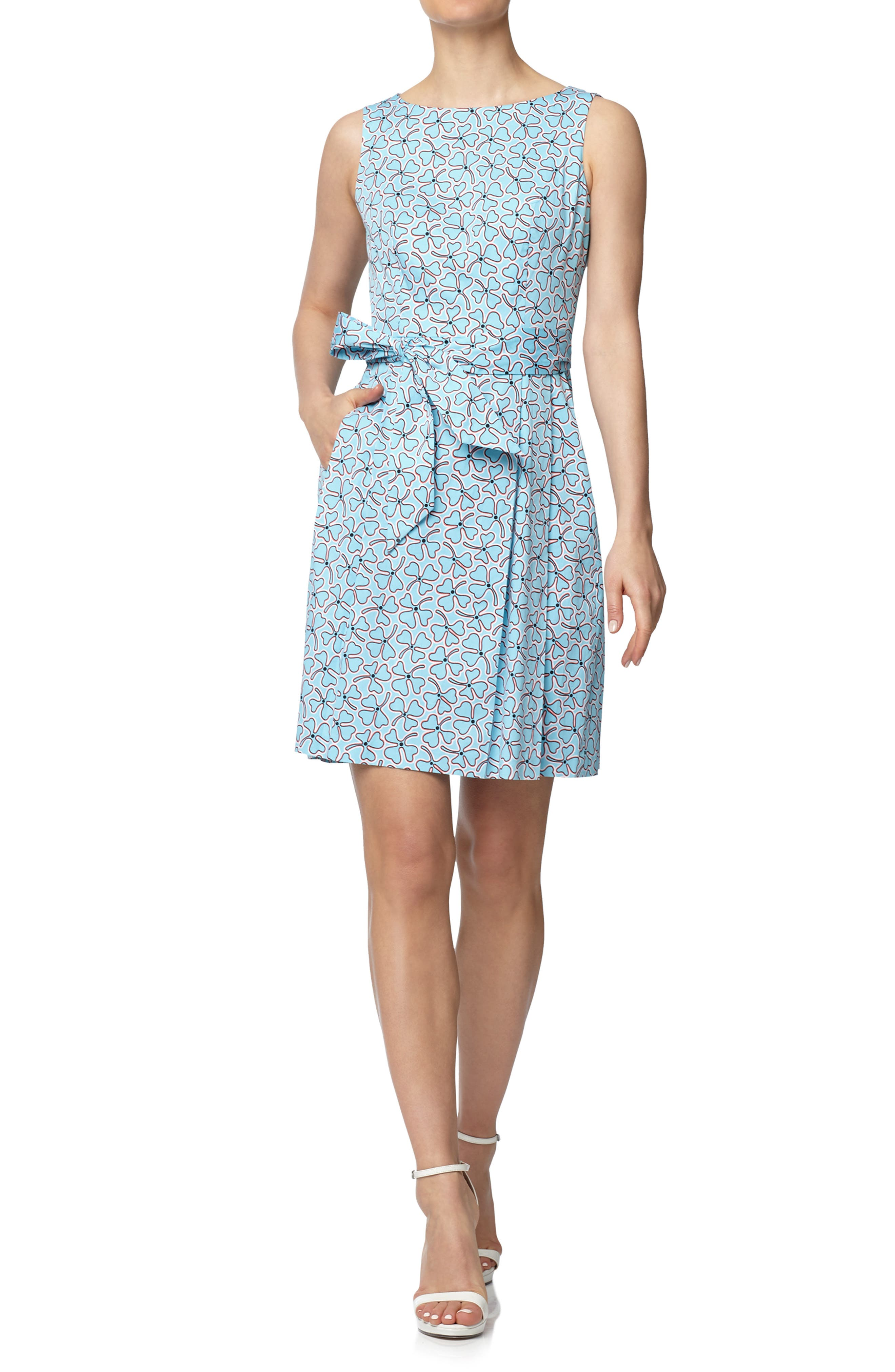 Bohemian Clover Belted Stretch Cotton Fit & Flare Dress