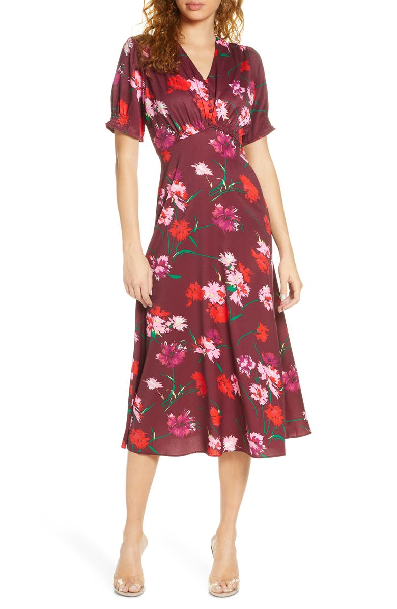 CAARA Callie Floral Midi Dress, Main, color, RED FLORAL