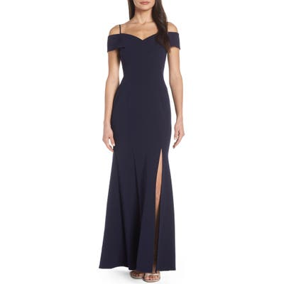 Morgan & Co. Portrait Collar Scuba Crepe Evening Dress, Blue