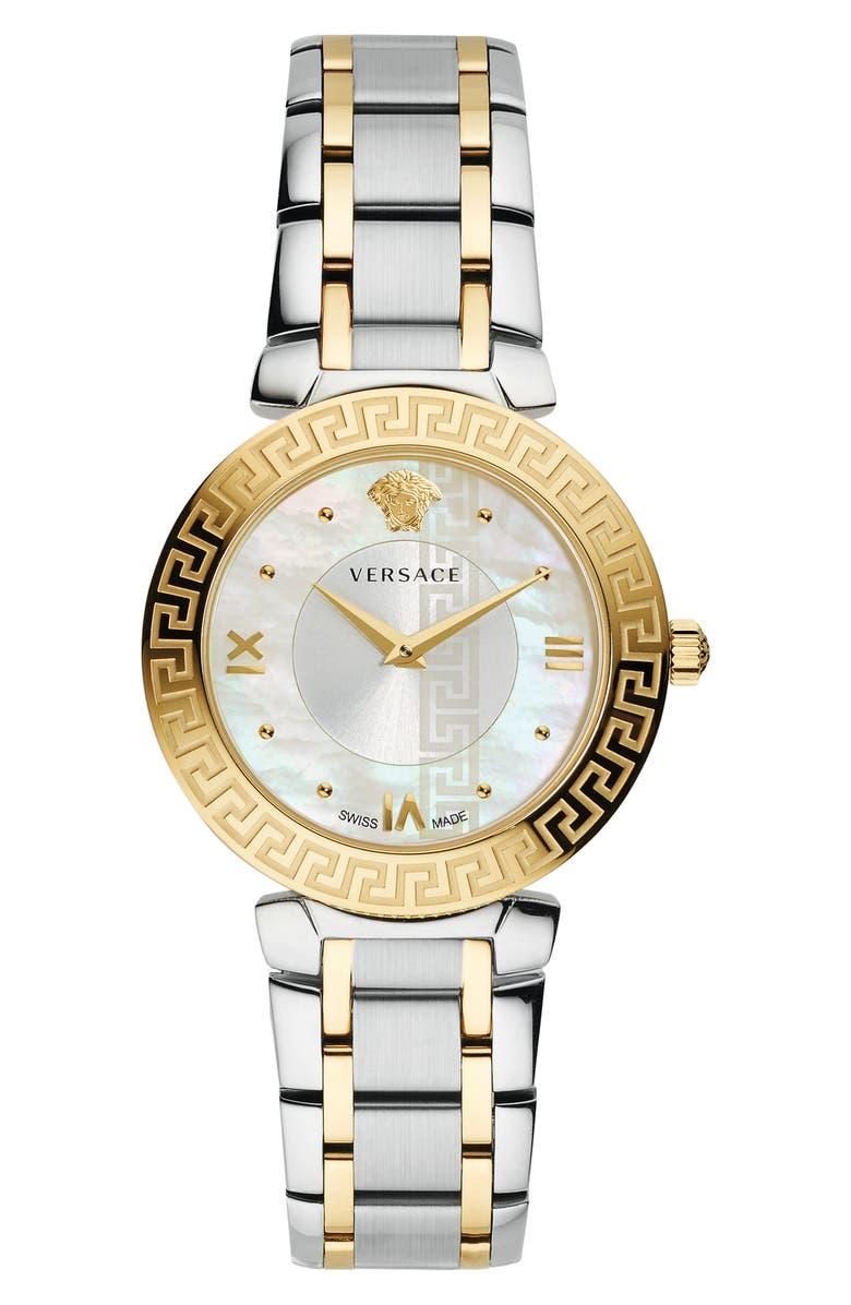 VERSACE Daphnis Bracelet Watch, 35mm, Main, color, SILVER/ MOP/ GOLD