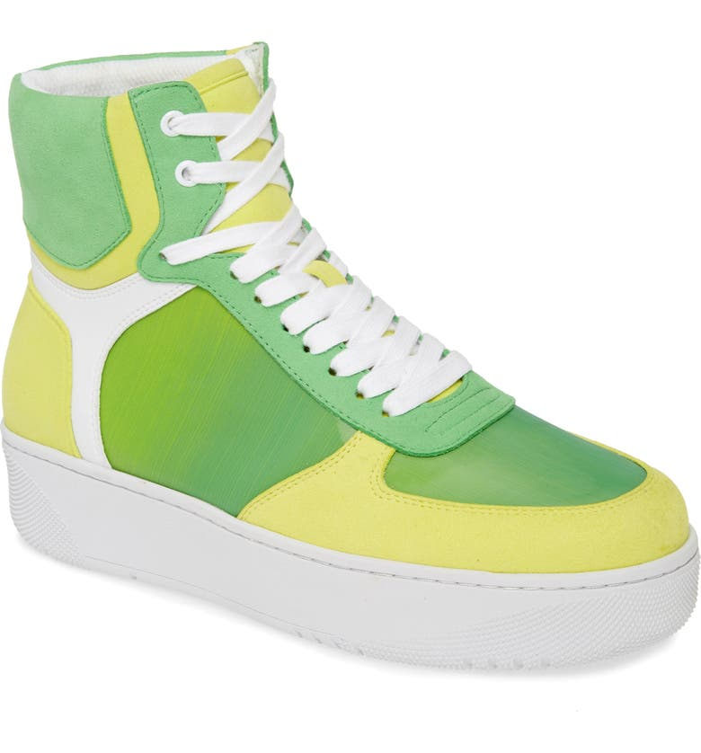 JEFFREY CAMPBELL Court-Hi High-Top Sneaker, Main, color, GREEN HOLOGRAPHIC MULTI