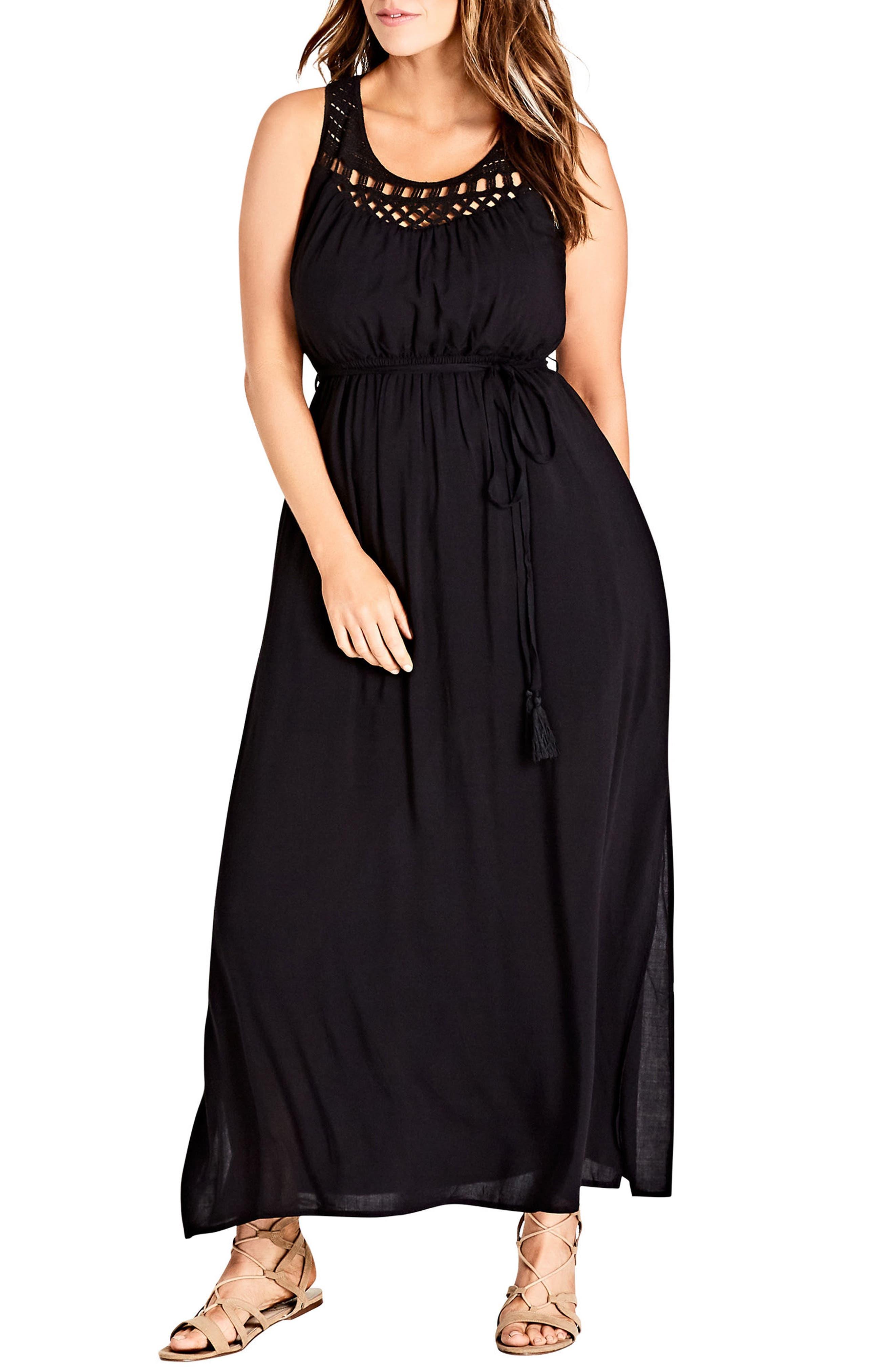 plus size women's city chic crochet tassel tie maxi dress, size xx-large - black