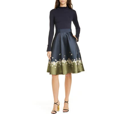 Ted Baker London Pearl Mixed Media Long Sleeve Fit & Flare Dress, (fits like 00 US) - Blue