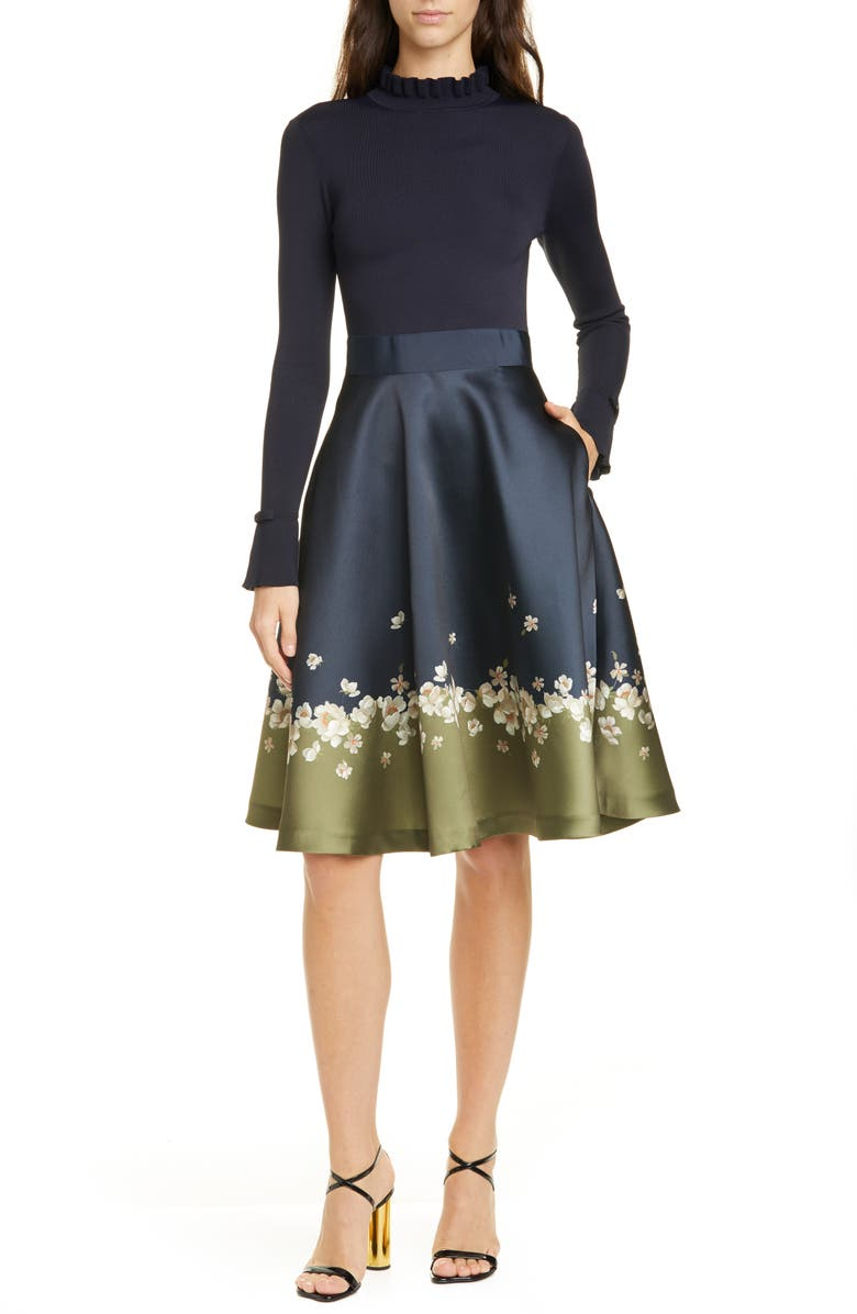 TED BAKER LONDON Pearl Mixed Media Long Sleeve Fit & Flare Dress, Main, color, DARK BLUE