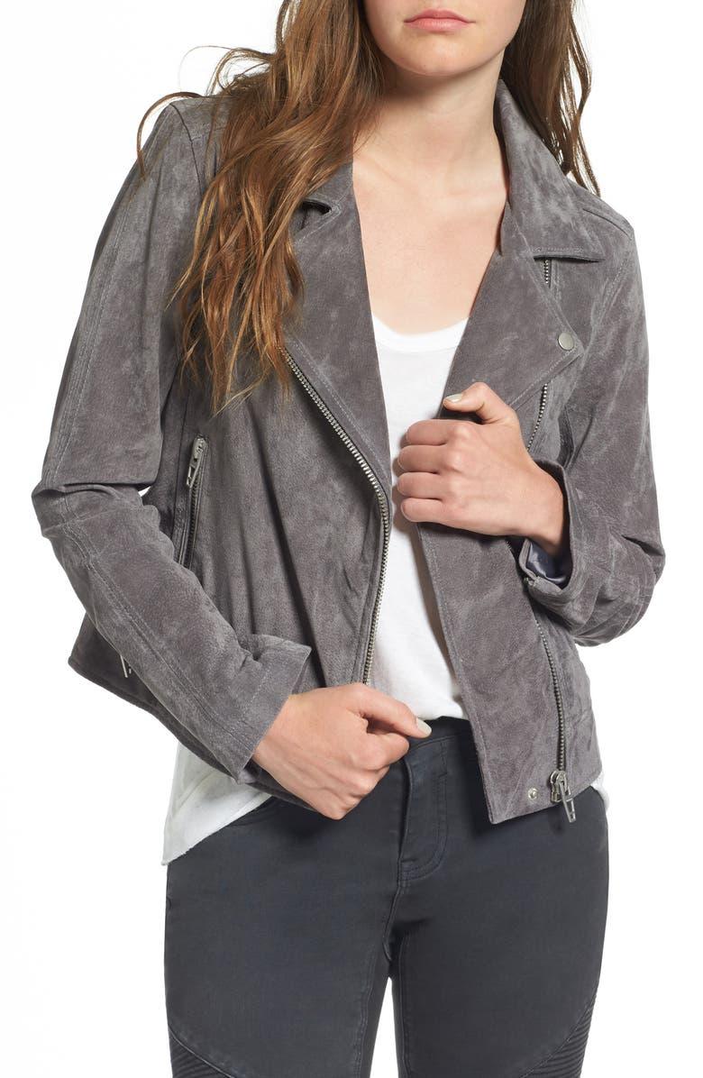 BLANKNYC Suede Moto Jacket, Main, color, SILVER SCREEN