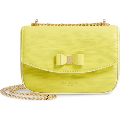 Ted Baker London Daissy Bow Mini Leather Crossbody Bag - Green