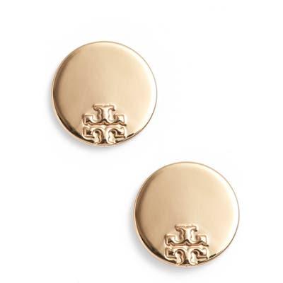 Tory Burch Serif Stripe Disc Stud Earrings